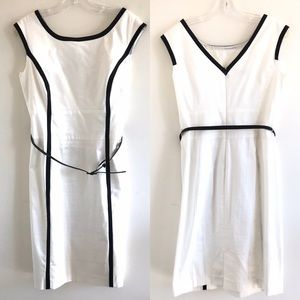 Jones Studio White Sheath Dress with Belt Size 8